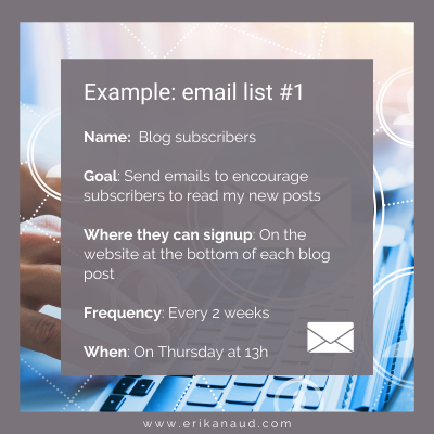 Start your Inbound Marketing strategy : Email list example