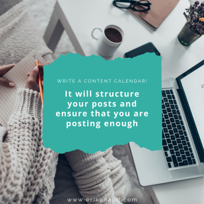 6 steps to create a social media strategy: write a content calender