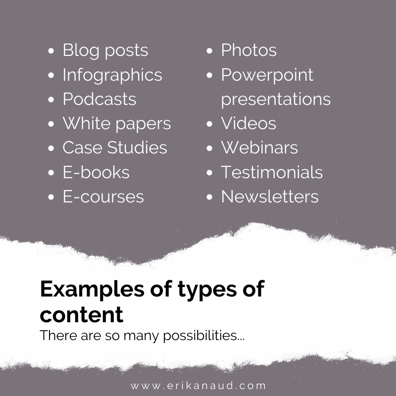 Examples of types of content
