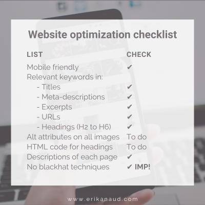 Start your Inbound Marketing strategy : Website optimization checklist