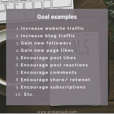 Tips to post on social media: goal examples