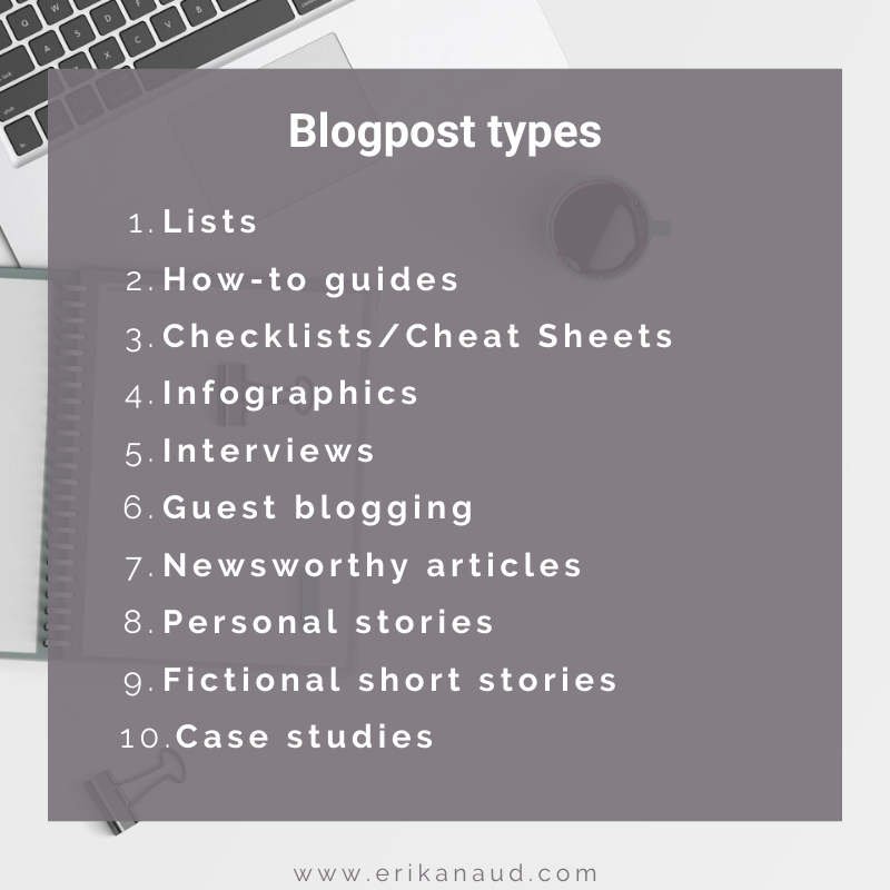 SEO optimized blog post: blogpost types
