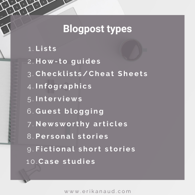 Write SEO optimized blog post: blogpost types