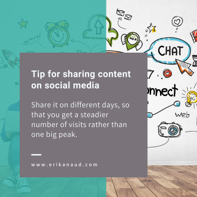 Upload SEO optimized blog posts: Tip for sharing content on social media - share it on different days, so that you get a steadier number of visits rather than one big peak.
